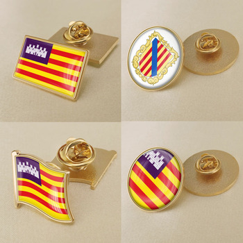 Coat of Arms of Balearic Islands Autonomous Community of Spain Flag Lapel Pins/Broochs/Badges image