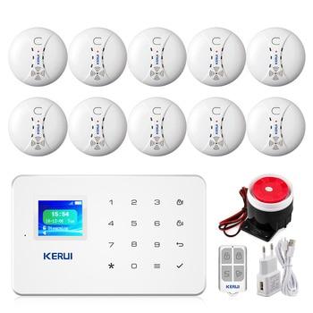 KERUI G18 Smoke Alarm System Fire Protection SMS APP Control GSM Burglar Alarm System Security Protection Sesor Alarm 1