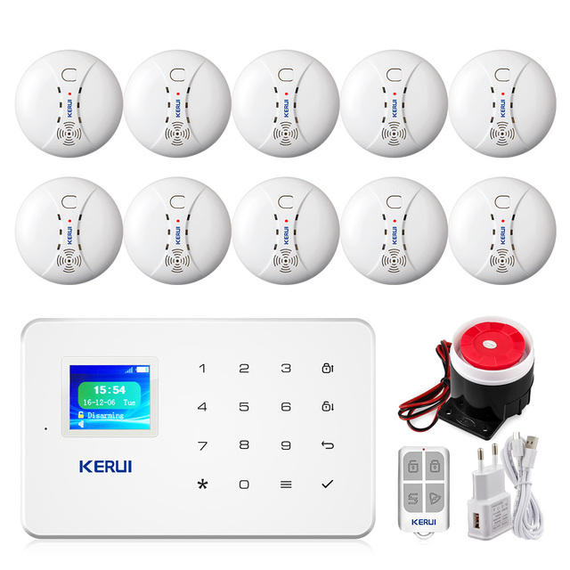 KERUI G18 Smoke Alarm System Fire Protection SMS APP Control GSM Burglar Alarm System Security Protection Sesor Alarm 1