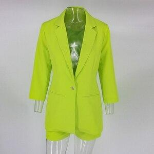 Image 5 - Pfflook 2019 verão trabalho ol conjunto de duas peças blazer jaqueta e shorts 2 peça conjunto cinto feminino 3/4 manga feminina roupas de duas peças