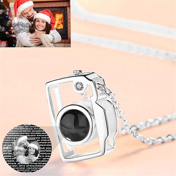 100 Language Camera Pendant Necklace Personalized Photo Name Romantic I Love You Projection For Women Girl Ladies Gifts