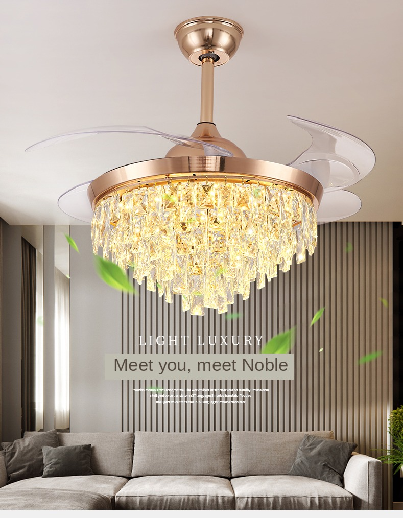 Imported From Abroad 110v / 220vled Crystal Invisible Ceiling Fan Light Restaurant Light Luxury Home Frequency Conversion Ceiling Fans With Lights Excellent (In) Quality