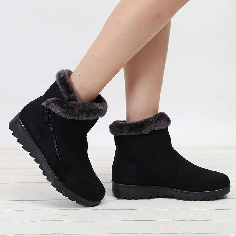 Women Boots Winter Shoes Women Ankle Boots Female Winter Boots Suede Warm Fur Snow Boots Ladies Bota Women Booties Botas Mujer