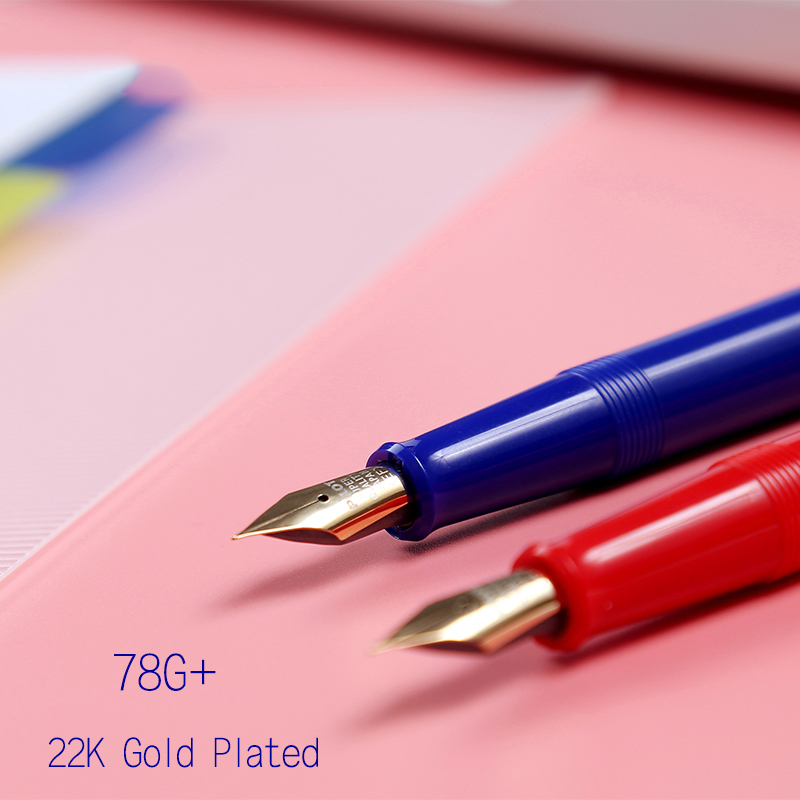 PILOT Fountain Pen Transparent 22K Gold Plated Student Calligraphy Pen Medium Nib Ink Pens For Writing Nice Pen Clips Stationery
