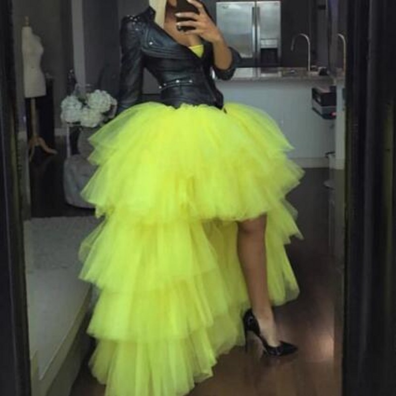 Cheap Tulle Skirts Tutu Length Hi Low Cute Woman Tulle Skirt For Wedding Saias Longa