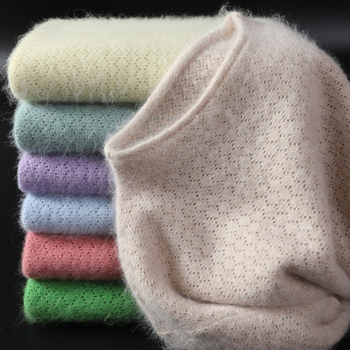 Women's Sweater 2020 New Fashion O-Neck Jumpers 100% Mink Cashmere Sweater Woman Sexy Sweater And Pullovers Long Sleeve Tops 1