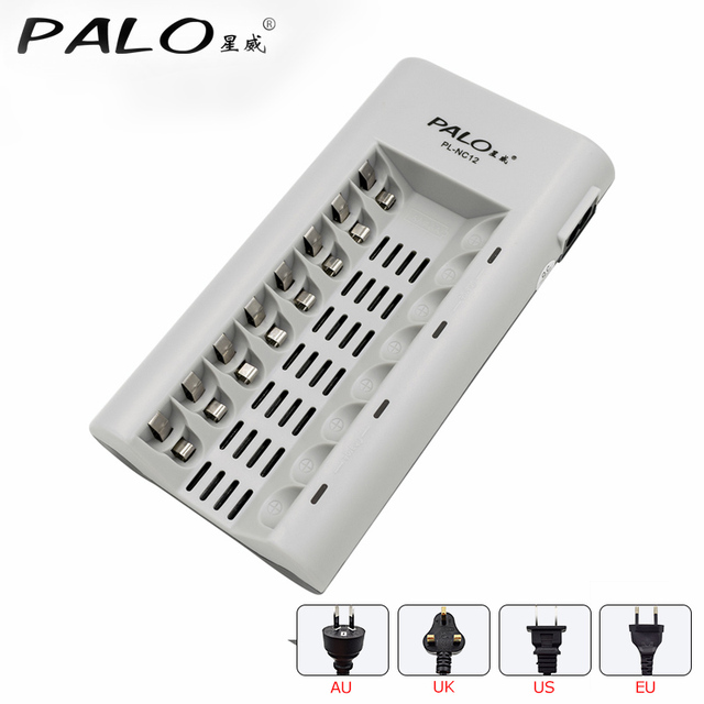 8 slots AAA AA battery chargers LED light smart battery charger for NI MH aa aaa chargers US UK EU AU plug fast charger