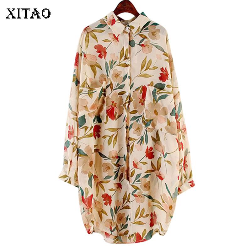 XITAO Loose Mid-length Chiffon Shirt Vintage Printed Women Blouses Plus Size Fashion Beach Holiday Sunscreen Women Tops GCC3430