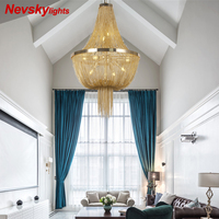 Modern gold chandeliers lighting living room luxury chandelier with silver fringe for bedroom Aluminum chain fixture for kitchen
