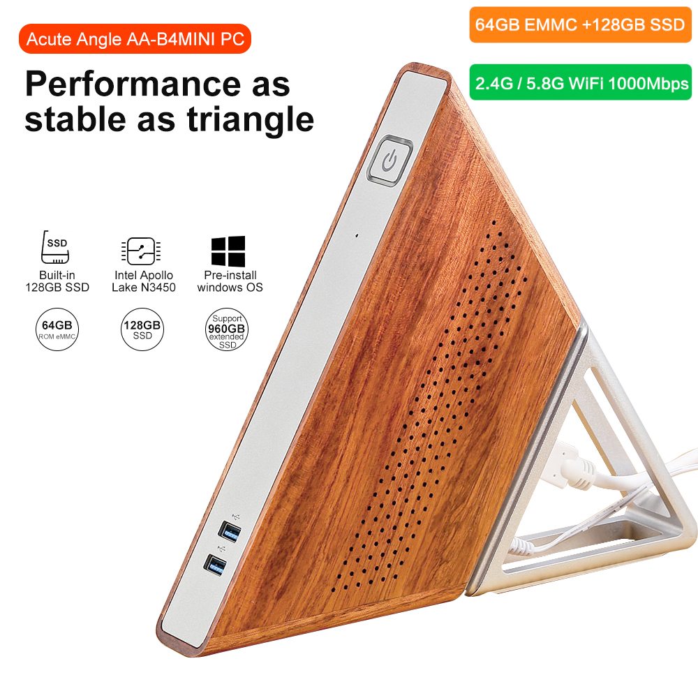 Acute Angle AA-B4 DIY Mini PC Intel Apollo Lake N3450 Windows10 8GB RAM 64GB EMMC 128GB SSD 2.4G 5.8G WiFi 1000Mbps BT4.0 TV Box