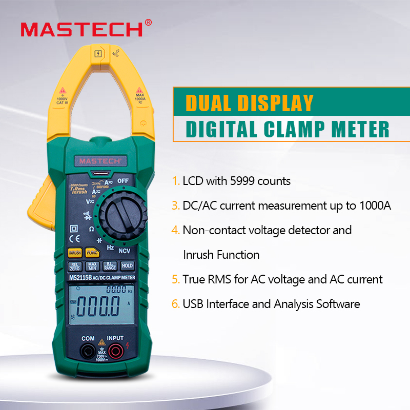 MASTECH MS2115B Digital AC/DC Clamp Meter with 6000 Counts NCV True RMS AC/DC Voltage Current Tester Detector with <font><b>USB</b></font> image
