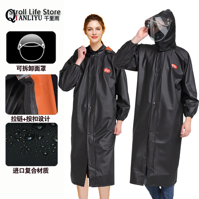 Black Windbreaker Waterproof Raincoat Women Adult Riding Hiking Long Rain Coat Thickened Men Rain Poncho Jacket Impermeable Gift 4