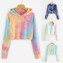 Fashion Women Long Sleeve Hoodies Tie Dyeing Printed Sweatshirt  Pullover Top Women Winter Fall Clothes 2019 недорого