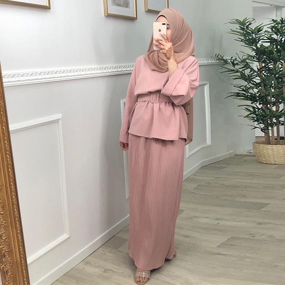 Ramadan Eid Mubarak Abaya Dubai Turkey Hijab Dress Muslim Sets For Women Islamic Clothing Robe Arabe Ensemble Femme Musulmane