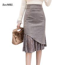 SEXMKL Faldas Mujer Moda Женщины Высокой Талией Кружевные Лоскутные Юбки Корейская Уличная Одежда Юп Femme Midi Юбка-Карандаш Плюс Размер
