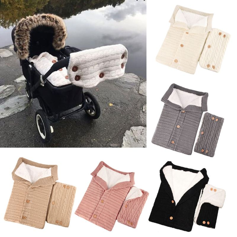 2PCS Baby Fleece Blanket Swaddle With Stroller Hand Muff Hands Warmer Sleepsacks