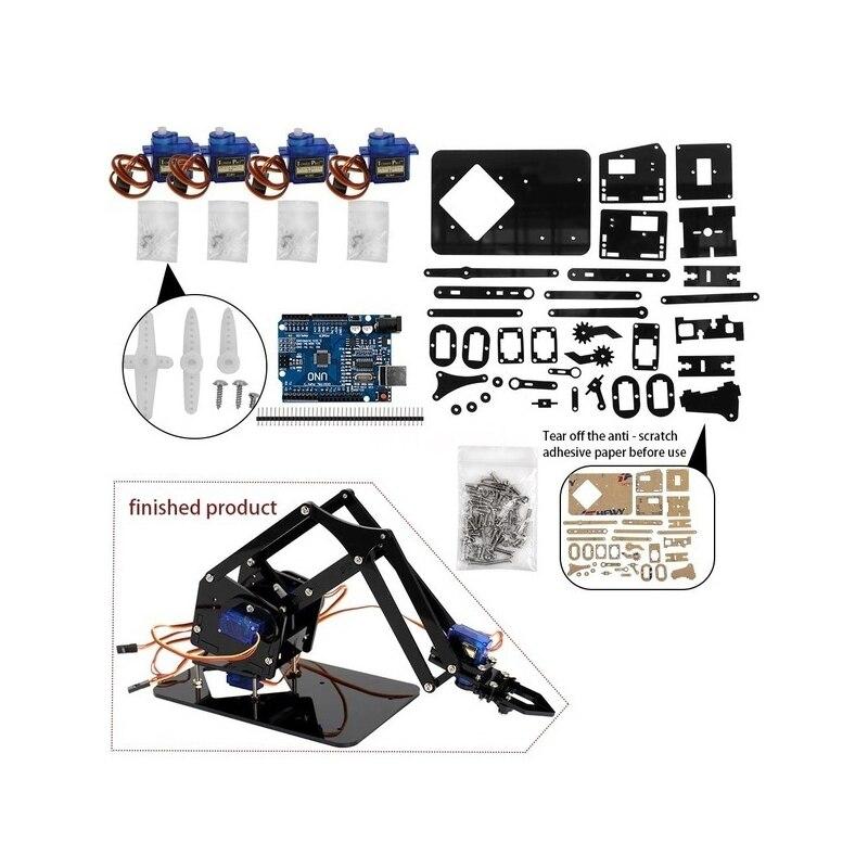 Набор для самостоятельного управления роботизированными рычагами для Arduino R3, высокая твердость акрила, Поддержка программирования Scracth, бе...