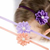 0-7 anos de idade do bebê recém-projetar meninas strass pérola flor headbands breve kiddo hairbands transporte da gota