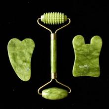 Dropshipping Jade Acupuncture Massage Roller Guasha Board SPA Scraper Stone Facial Anti-wrinkle Trea