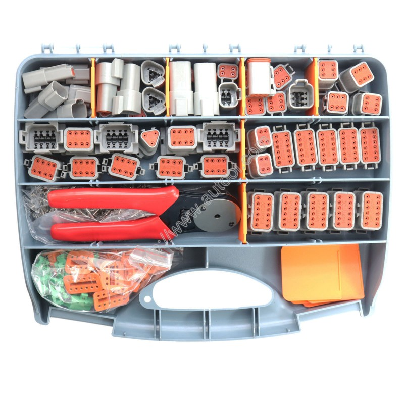 471 Pcs Deutsch DT Series Automotive Connector Kit With Solid Terminals Plier +16-20AWG Solid Terminals+Tool Box