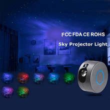 Colorful Projector Night Light Starry Sky Lamp For Kids Bedroom Rotating Waving Flashing Night Light Decoration Christmas Gift