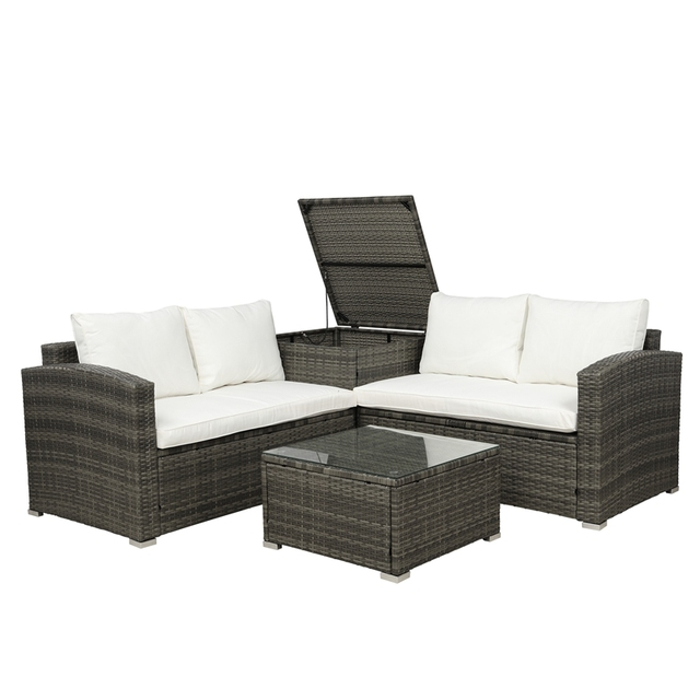 4 PCS Outdoor Cushioned PE Rattan Wicker Sectional Sofa Set 3