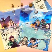 1pc A4 Anime Demon Slayer Kimetsu No Yaiba Kamado Tanjirou Nezuko Folder File Bag Document Organizer Storage Bag Stationery Gift