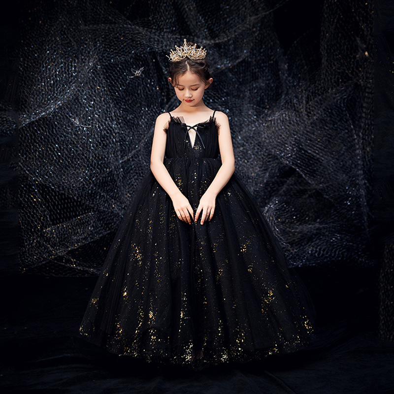 Sequined Flower Girl Dresses For Weddings Black Piano Performance Suit Girls Pageant Dresses Vestidos De Noches Para Ninas