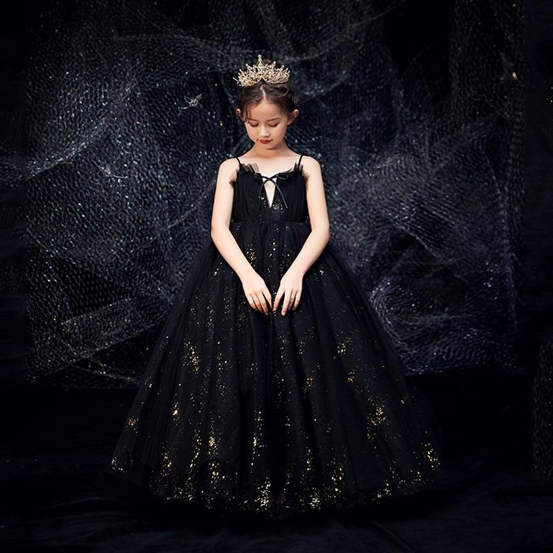 Sequined Flower Girl Dresses For Weddings Black Piano Performance Suit Girls Pageant Dresses Vestidos De Noches Para Ninas