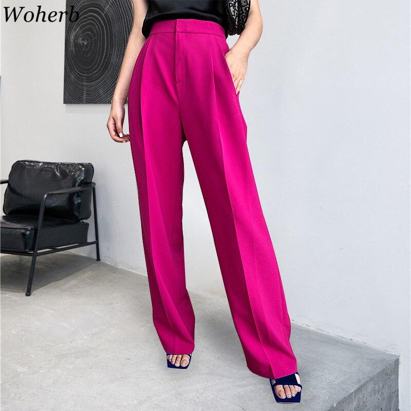 Woherb High Waist Wide Leg Pants Women Solid Vintage Trousers Streetwear Female Pockets Office Lady Pantalon Femme 25733