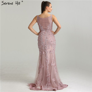 Image 2 - Serene Hill Pink Sexy Elegant Evening Dress 2020 Lace Pearls Diamond Mermaid Formal Party Gown Real Photo CLA6355