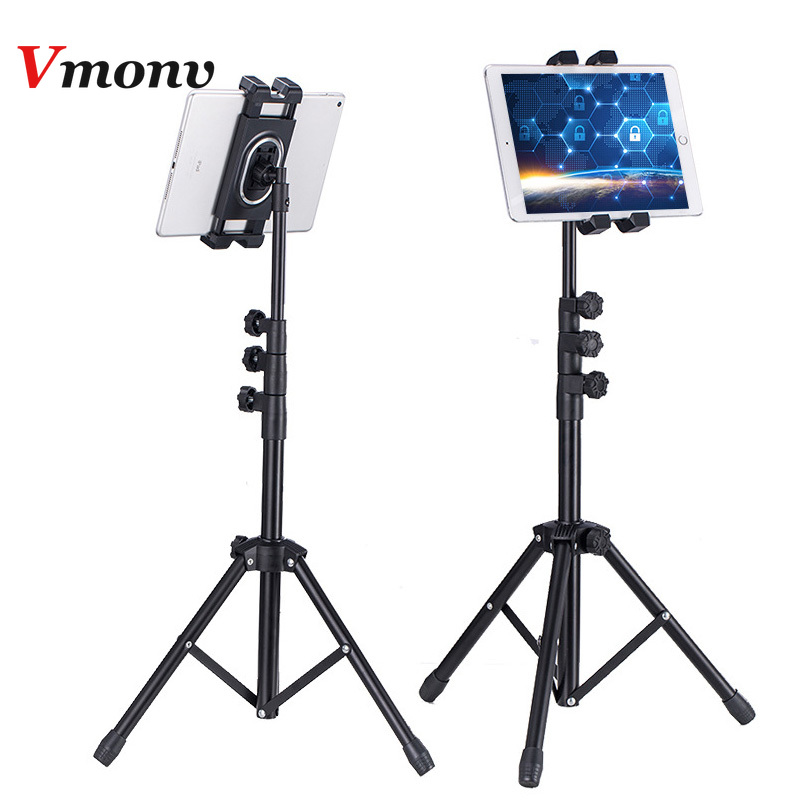 Vmonv Adjustable Tripod Floor Tablet Holder For Ipad Air Pro 5-12.9 Inch Tablet Phone Tripod Stand Mount For IPhone X 8 Samsung