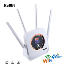 KuWFi CAT6 de alta velocidad 4G LTE enrutador tarjeta SIM... Modem inalámbrico WiFi 4G CPE Router WiFi con antena externa a 10 de los usuarios