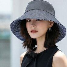 Sun-Hat Beach-Hats Summer Sunscreen Wide Brim Foldable Female Women Big Cotton Linen