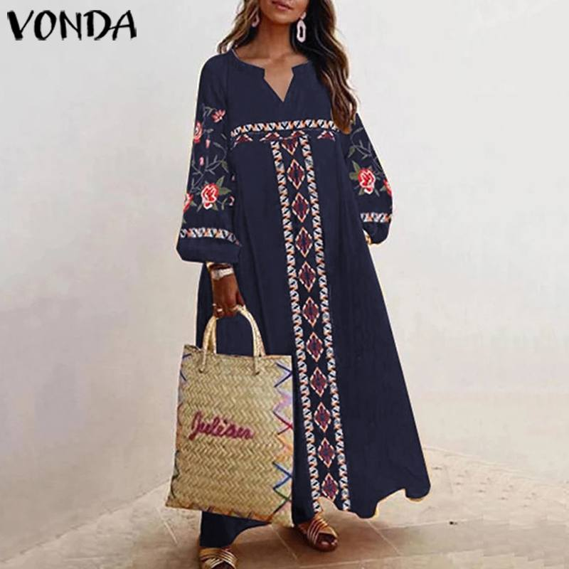VONDA Vintage Bohemian Dress Women Sexy Lantern Sleeve Print Party Maxi Long Dress Beach Holiday Vestidos Femme Robe Plus Size