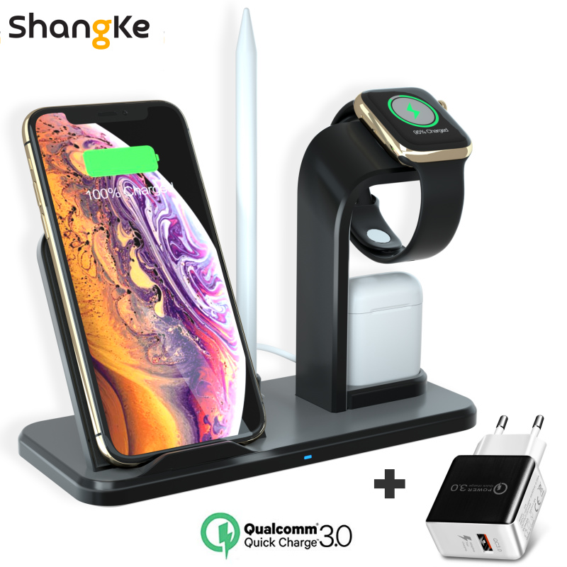 New Fast Charging 3 In 1 Qi Wireless Charger For Apple Watch 1 2 3 4 Airpods For IPhone XS Max XR X 8 Plus Samsung S9 S8 Note 9
