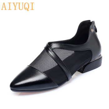 AIYUQI Fashion Women Shoes Summer 2020 New Genuine Leather Women Shoes Large Size 41 42 Mesh Rhinestone Professional Shoes Women