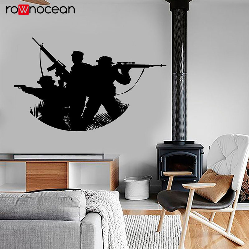 Soldier Military Modern War Army Teamwork Wall Sticker Vinyl Home Decor Interior Design Room Wall Decals Teens Room Murals 3631 in Wall Stickers from Home Garden