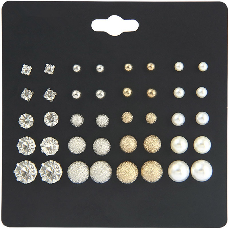 20 Pairs/Set Classic Ball Round Simulated Pearl Stud Earrings Set For Women Girls Gifts Metal Crystal Rhinestone Earring
