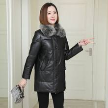 Brand name brand sheepskin fox fur collar down loose women's coat black solid winter leather long sleeve coat women's coat hot(China)