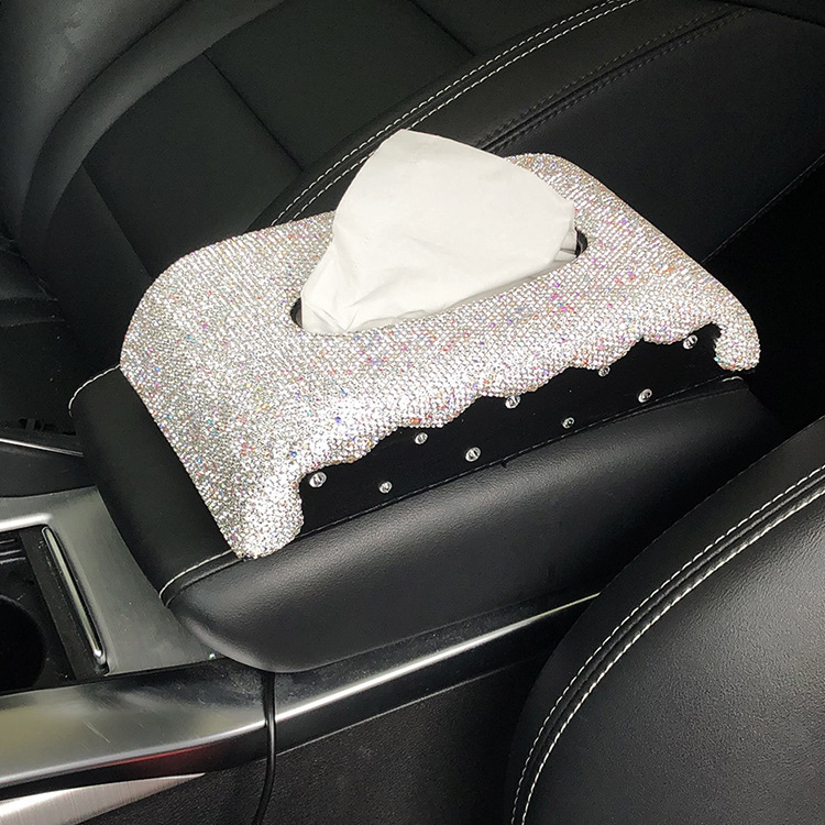 Automobile Armrest Box Cover Seat Type Tissue Box Diamond Set Car With Napkin Box Women's Creative Car Mounted Decoration Sun Sh