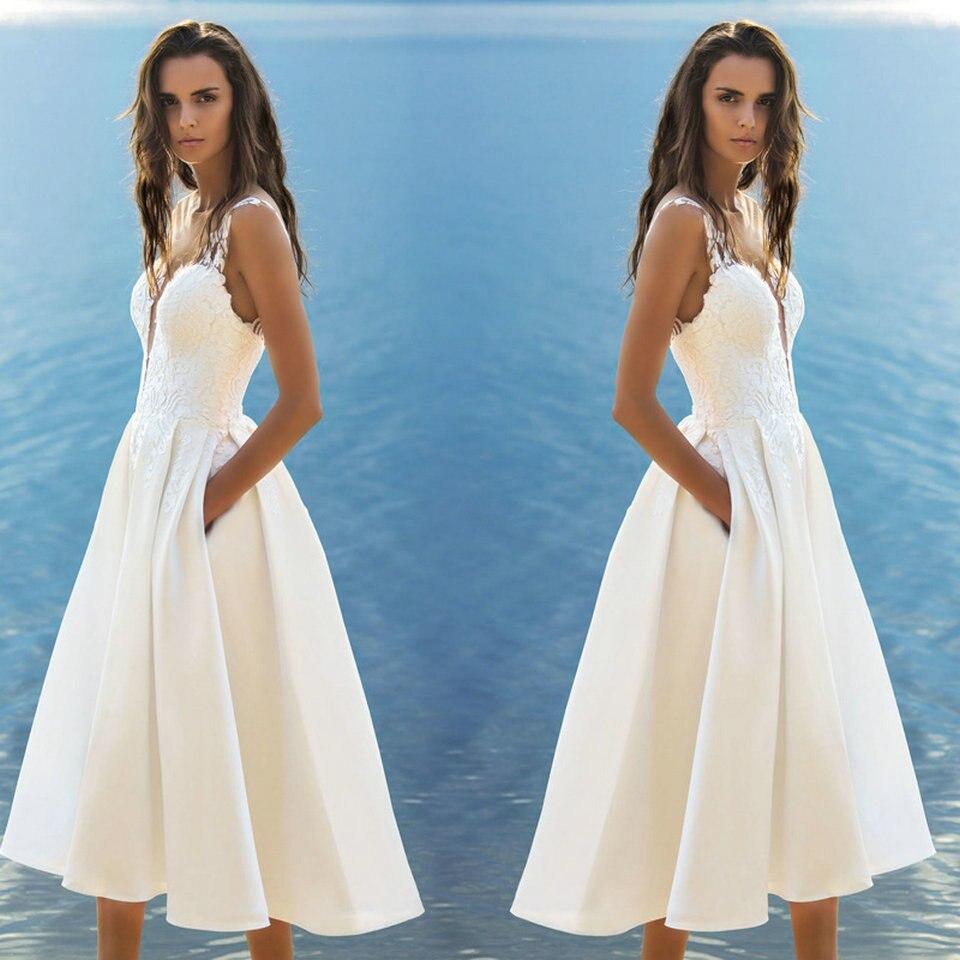 Short Wedding Dress 2019 Wedding Gowns Women Bohemian Satin Lace Appliques Zipper Tea Length Beach Bridal Party Dresses