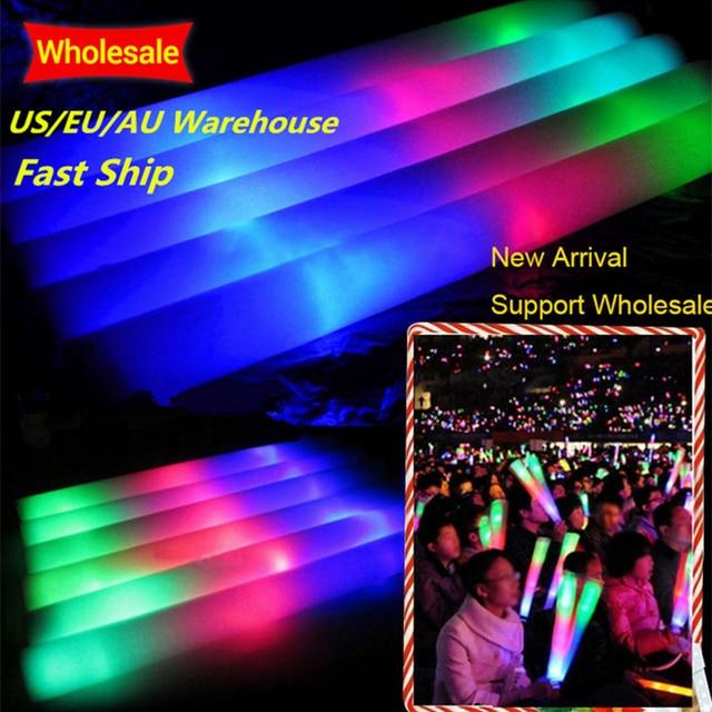 Vara de luz de led para festa, vara de espuma brilhante, 100 peças, para casamento, concertos, macia, 3 lâmpadas, pisca com 3 baterias sem logotipo