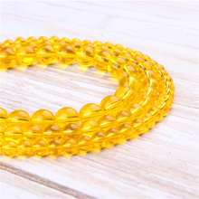 Wholesale Yellow Glass Natural Stone Beads Round Beads Loose Beads For Making Diy Bracelet Necklace 4/6/8/10/12MM
