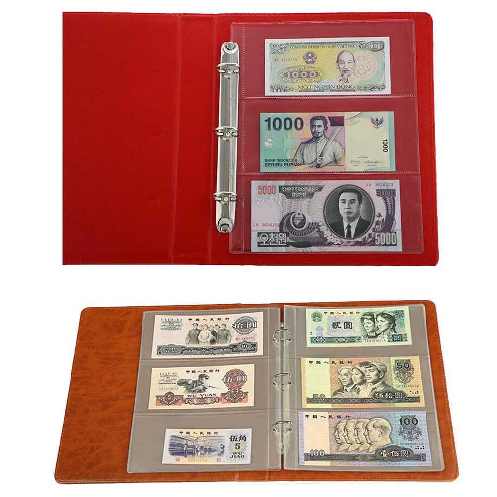 10Pcs Soldi Banconota Soldi di Carta Album Pagina di Raccolta Titolare Maniche 3-slot Sciolto Foglia di Copriletto Album di Protezione