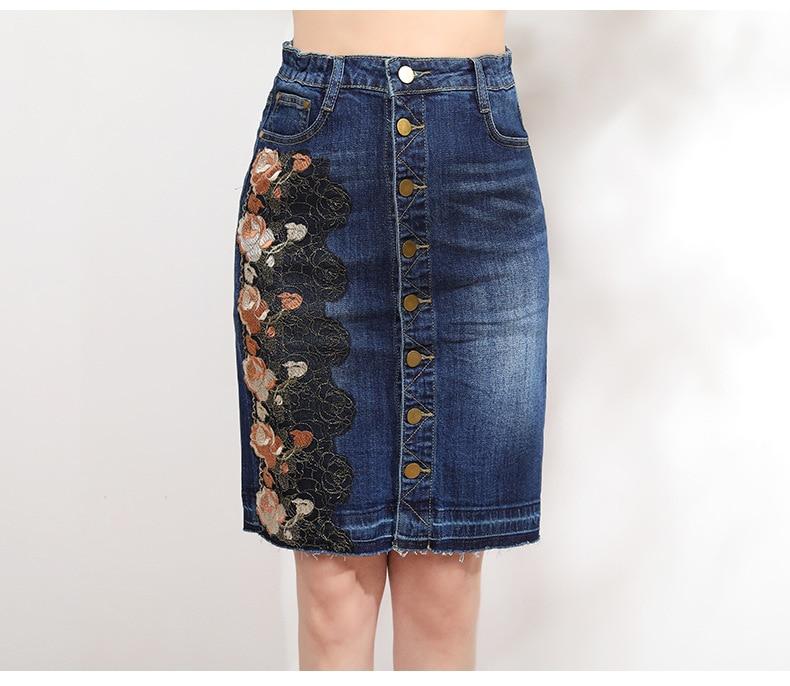 KSTUN Women Skirt Summer Fashion High Waist Step Skirt Embroidered Elastic Waist Denim Skirts Woman Single Button Push Up Jeans Skirt 18