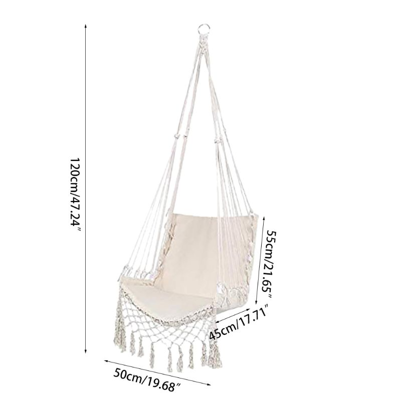 Hf729b6c38f31498cb79d1fe264be9bebD Nordic Style Hammock Safety Beige Hanging Hammock Chair Swing Rope Outdoor Indoor Hanging Chair Garden Seat for Child Adult