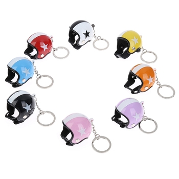 Hot Sale Creative Fashion Motorcycle Key Chain Mini Sport Motorcycle Safety Helmet Pendant Keychain Car Accessories image