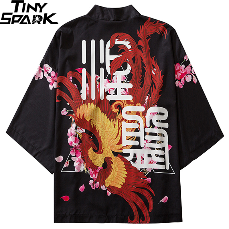 Japanese Kimono Jacket Chinese Ancient Kanji Phoenix Harajuku 2020 Hip Hop Men Japan Streetwear Jacket Summer Thin Loose Kimono