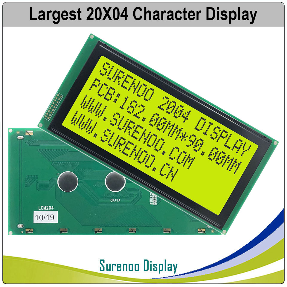 Largest 204 20X4 2004 Character LCD Module Display Screen LCM Yellow Green LCD With Yellow Green LED Backlight
